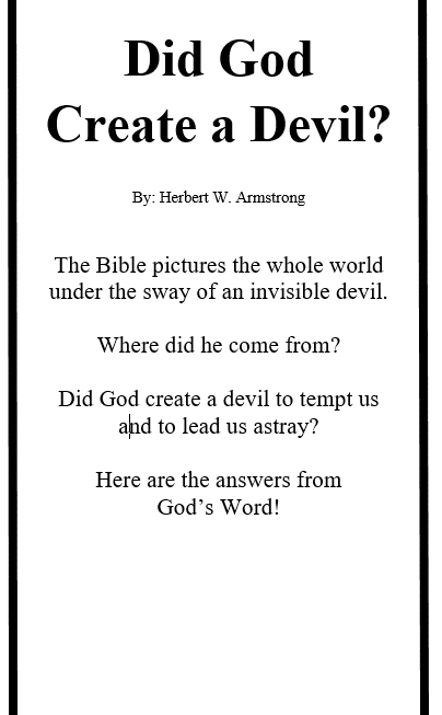 DID GOD CREATE A DEVIL