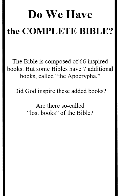 Do We Have the COMPLETE BIBLE?